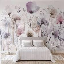 Custom Photo <b>Wallpaper</b> Watercolor <b>Hand painted Style</b> Lilac Floral ...