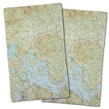 Nh Lake Winnipesaukee Nh Topo Map Hand Towel Set Of 2 Map Hand Towel Nautical Hand Towel Map Decor Nautical Chart Decor