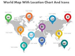 Location Chart New World Map With Location Chart And Icons Flat Powerpoint