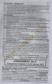 english i code solve assignments of aiou spring  compulsory english part 1 code 1423 ba bs