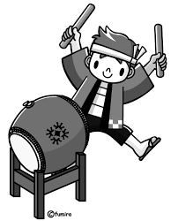 太鼓をたたく子供モノクロ 子供と動物のイラスト屋さん わたなべふみ