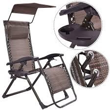 foldable zero gravity chair lounge patio outdoor yard recliner w sunshade tray