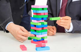 Game Played With Wooden Blocks Businessmen playing wooden blocks game Stock Photo © gioiak100 56