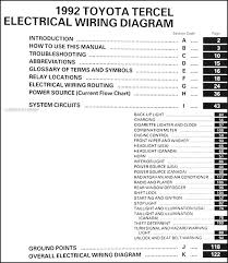 1992 toyota tercel wiring diagram manual original covers all 1992 toyota tercel models including dx and le this book measures 11 x 8 5 and is 0 19 thick buy now for the best electrical information