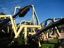 one of montu s trains entering the zero g roll