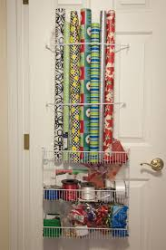 Simple Bedroom with Wrapping Paper Storage Solutions, Wire Gift Wrap  Command Hooks Storage, and