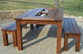 kruse s work patio party table with built in beer