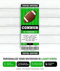 Free Football Invitation Templates Football Invitations Party Template Ticket Templates Free