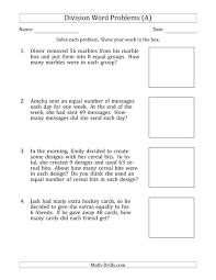 Division Word Problems With Division Facts From 5 To 12 A