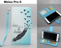 meizu pro 6 3 card leather wallet case printed id lanyard hole stand feather trade me