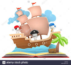 3d ilration of kids playing in a pirate ship on a popup book