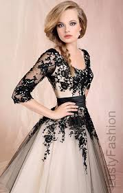 black and white prom dress with sleeves 2016