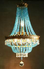 vintage gilt petite french crystal chandelier with aqua crystal strands ladyluxury