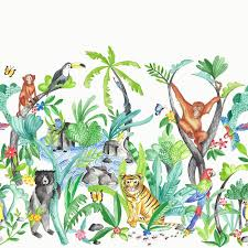 jungle wallpaper cartoon. Simple Wallpaper Arthouse Jungle Mania Animal Pattern Wallpaper Childrens Cartoon Motif  696008 To O