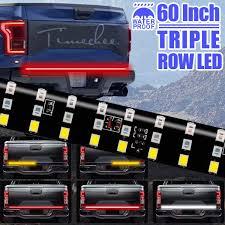 3 Color Led Tailgate Light Led Tailgate Light Bar Triple Row 60 Inch Tail Light Bar For Pickup Trailer Suv Rv Van Red Brake White Reverse Amber Turn Signal Strobe Light With