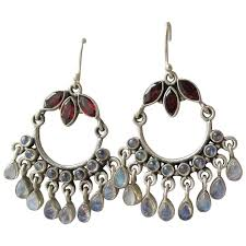 garnet moonstone bali vintage sterling silver chandelier earrings