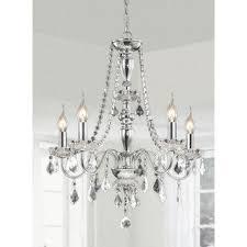 glam lighting. chrome 5light crystal chandelier glam lighting