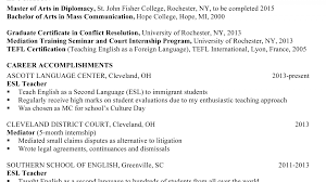 Tefl Resume Sample Cover Letter Esl Application Writers Site Example