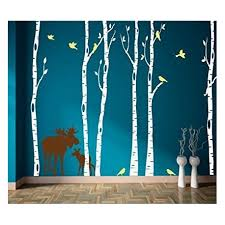 write your review six birch tree decals moose and birds tree nursery wall  on nursery wall art tree decal with six birch tree decals moose and birds tree nursery wall art wall
