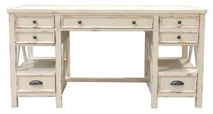 nantucket 60 inch writing desk in vintage burnished artisan white finish by parker house nan 985