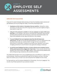 Employee Self Assessment A Guide to Employee Evaluations Self Assessment Tool 1