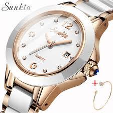 <b>SUNKTA Fashion</b> Casual <b>Women</b> Watch Waterproof Ceramic Quartz ...