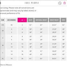 Free People Chart Which Free People Size Chart 4 Canadianpharmacy Prices Net
