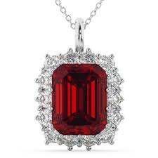 emerald cut ruby diamond pendant 14k white gold