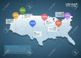 Us Map Chart Us Map Infographics Design Vector Template Illustration Template