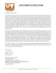 Letter Of Recommendation Ut Tyler