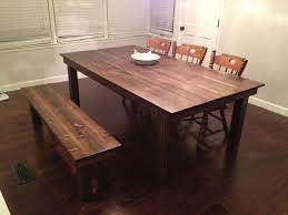 dining tables astonishing farmhouse rustic awesome table with bench wooden and chair grey wall floor seating