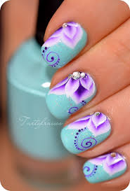 Blue Flower Nail Designs Flower Nail Designs Pictures Photos And Images For