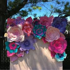 Paper Flower Photo Booth Backdrop Us 99 98 14pcs Giant Paper Flowers For Party Wedding Decor For Photo Booth Backdrop For Wedding Background In Artificial Dried Flowers From Home