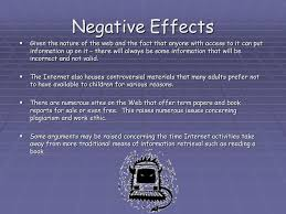 effects of the internet on education ppt video online  negative effects