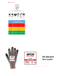 Ppe Glove Selection Chart Arco Cut Protection Gloves