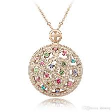 whole new arrival fashion jewelry party necklace women gift crystal from swarovski round necklaces pendants for women gold charms heart necklaces from