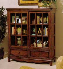 enchanting bookcase with glass doors target home ideas with sofa and vases and basket