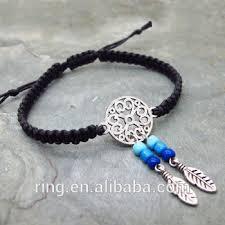 Dream Catcher Charm Bracelet Beauteous Black Braided Cord Dream Catcher Charms Bracelet Alloy Feather