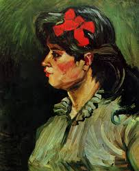 portrait of a woman with a red ribbon 1885 vincent van gogh