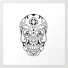 Mexican Skull Triskele Celtic Cross Tattoo Art Print