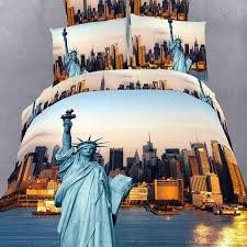 hipster sunset orange pink and blue 3d american statue of liberty print new york city skyline scene kids full size cotton bedding sets
