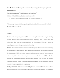 Pdf How Effective Are Incident Reporting Systems For Improving