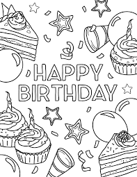 All birthday and birthday cake coloring pages are printable. Free Printable Happy Birthday Coloring Page Download It At Https Musepr Happy Birthday Coloring Pages Happy Birthday Cards Printable Coloring Birthday Cards