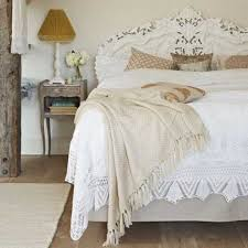 Shabby Chic Headboard White Ruffled Bedding Set And Rustic Side Table For Traditional