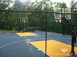 backyard ideas basketball court. basketball court with containment fencing backyard ideas