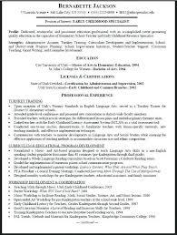 Sample Early Childhood Education Resume Early Childhood Education ...