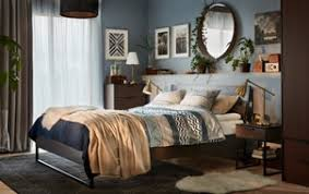 modern bedroom inspiration. Brilliant Bedroom A Cozy Modern Bedroom In Blue And Brown With A TRYSIL Bed Bedside Table And Modern Bedroom Inspiration B