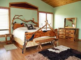 Breathtaking Double Bed Closed Old Chair On Sleek Wood Floor Under Unusual  Ceiling Plus Square Mirror Near Glass Window In Rustic Bedroom Ideas