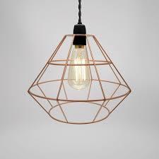 Wire Pendant Light Modern Industrial Black White Copper Metal Cage Wire Pendant Light
