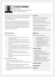Office Management Resume Office Manager Resume Templates For Word Word Excel
